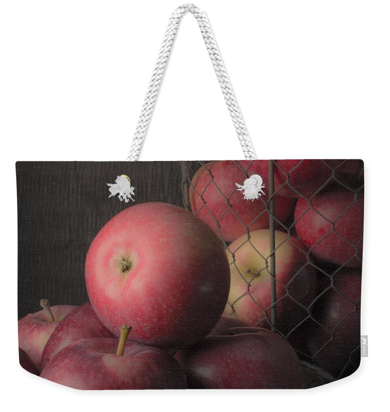 Fruit Weekender Tote Bag featuring the photograph Sun Warmed Apples Still Life Standard Sizes by Edward Fielding