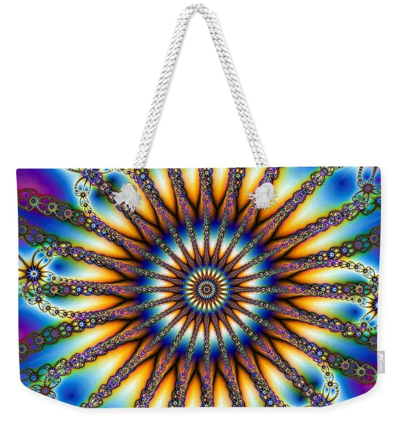 Sun Wheel 2 Weekender Tote Bag featuring the digital art Sun Wheel 2 by Elizabeth McTaggart