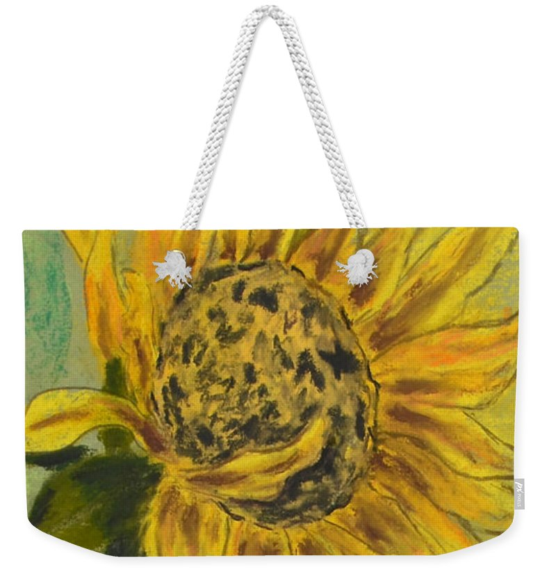Sunflower Weekender Tote Bag featuring the drawing Sunburst by Cori Solomon
