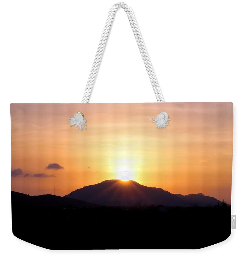 Sun Weekender Tote Bag featuring the photograph Sunburst Over The Wichitas by Linda Stewart