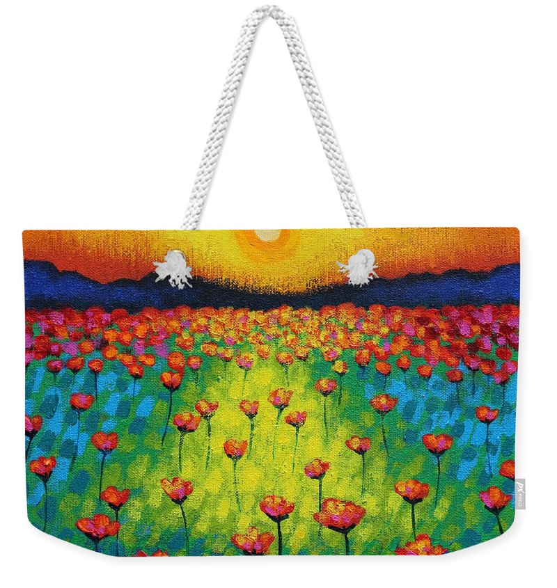 Acrylic Weekender Tote Bag featuring the painting Sunburst Poppies by John Nolan