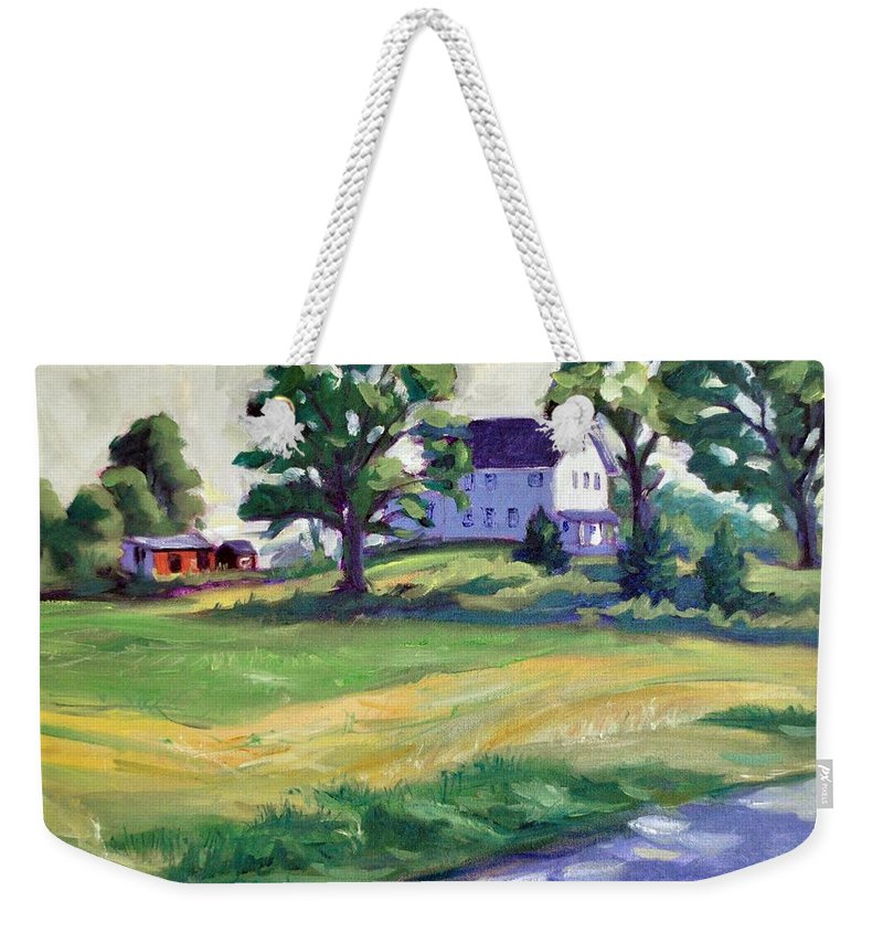 The Wasniewski Farm Weekender Tote Bag featuring the painting Sunday Morning by Sylvina Rollins