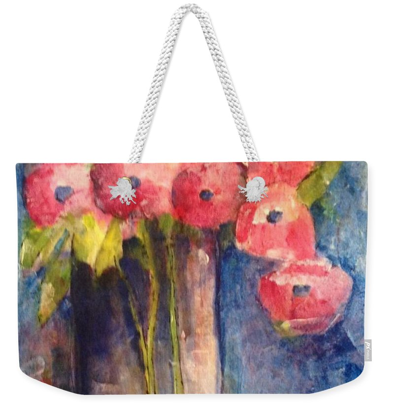 Floral Weekender Tote Bag featuring the painting Sunday Painting by Sherry Harradence
