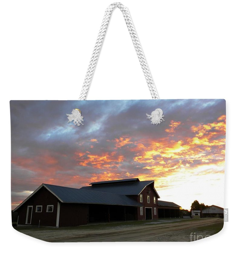 Barn Weekender Tote Bag featuring the digital art Fire In The Sky Sunday by Matthew Seufer