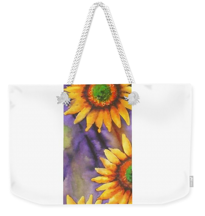 Fine Art Painting Weekender Tote Bag featuring the painting Sunflower Abstract by Chrisann Ellis