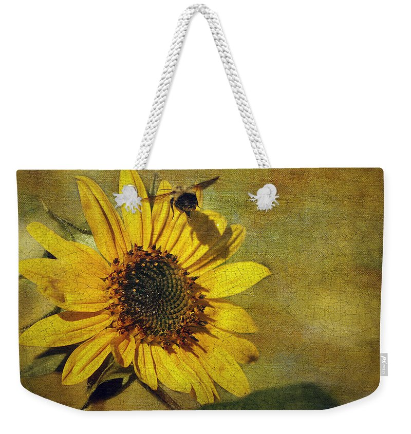 Cindi Ressler Weekender Tote Bag featuring the photograph Sunflower And Bumble Bee by Cindi Ressler
