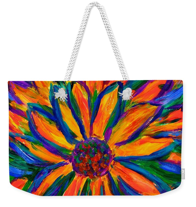 Sunflower Weekender Tote Bag featuring the painting Sunflower Burst by Kendall Kessler