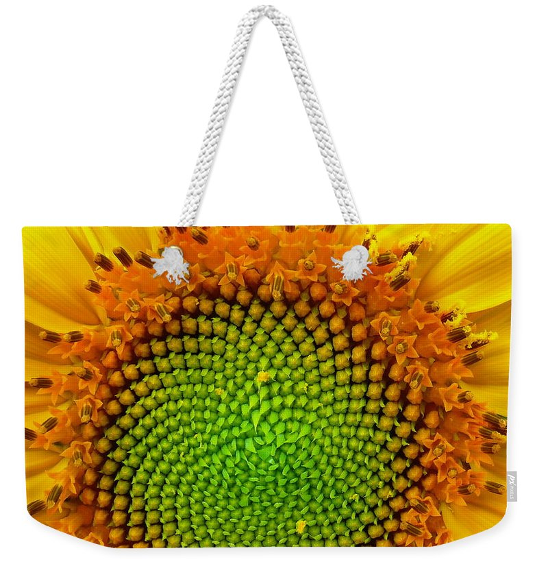 Sunflower Weekender Tote Bag featuring the photograph Sunflower Center by Robert Brown