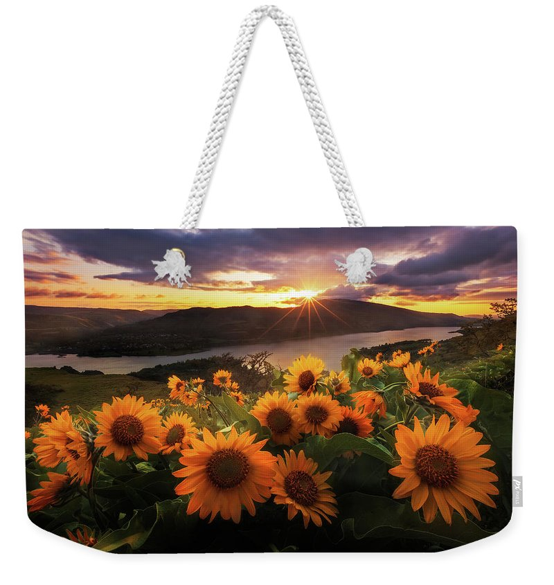 Outdoors Weekender Tote Bag featuring the photograph Sunflower Field by Jeremy Cram Photography