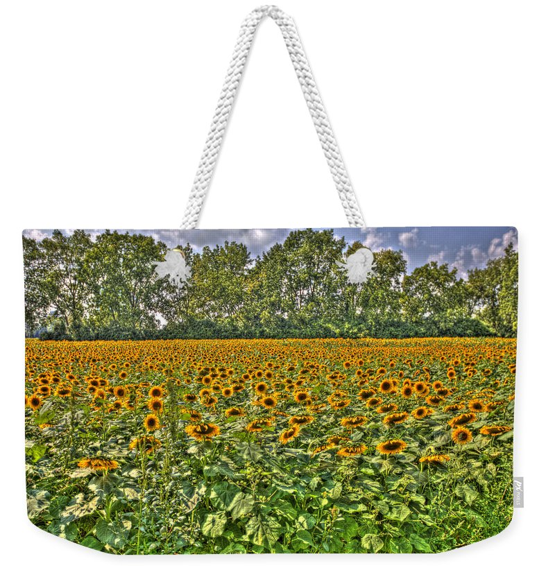 Sunflower Fields Weekender Tote Bag featuring the photograph Sunflower Fields Ford World Headquarters Dearborn Mi by A And N Art
