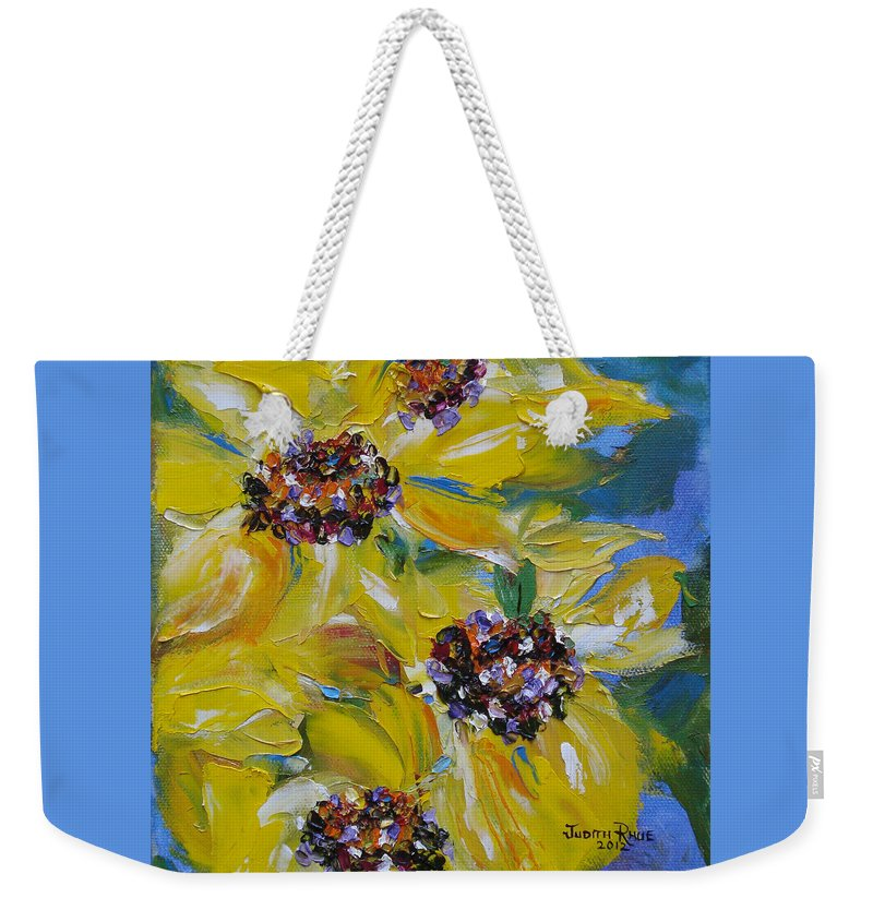 Sunflowers Weekender Tote Bag featuring the painting Sunflower Quartet by Judith Rhue