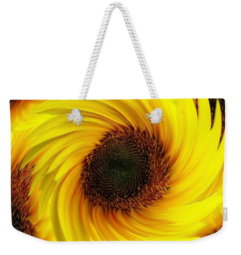 Natural Weekender Tote Bag featuring the painting Sunflower Twirl by Neil Finnemore