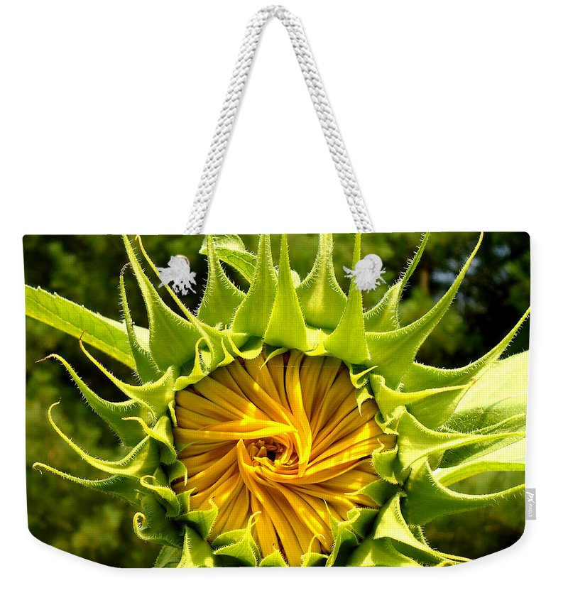 Sunflower Weekender Tote Bag featuring the photograph Sunflower Whirl by H Cooper