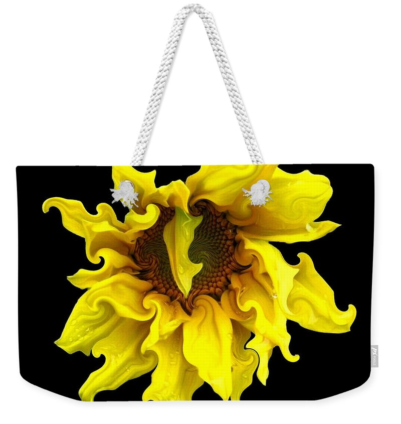 Sunflowers Weekender Tote Bag featuring the photograph Sunflower With Curlicues Effect by Rose Santuci-Sofranko