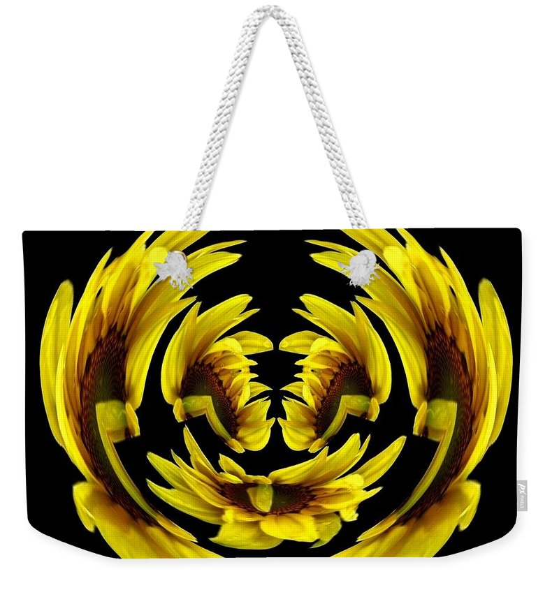 Polar Coordinates Weekender Tote Bag featuring the photograph Sunflower With Warp And Polar Coordinates Effects by Rose Santuci-Sofranko