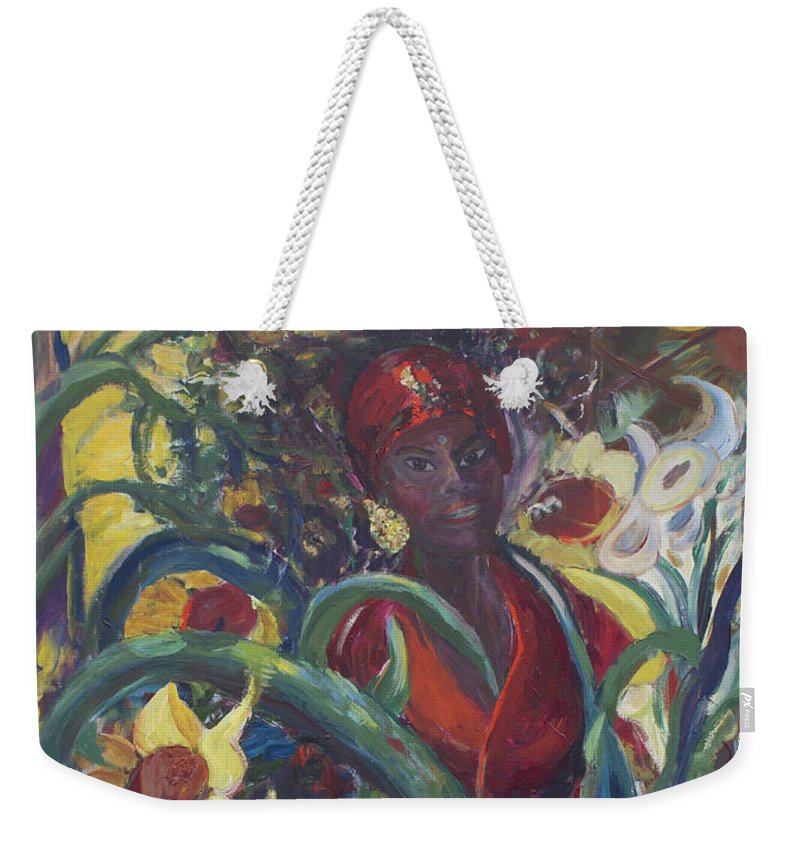 Sunflower Paintings Weekender Tote Bag featuring the painting Sunflower Woman #1 by Avonelle Kelsey