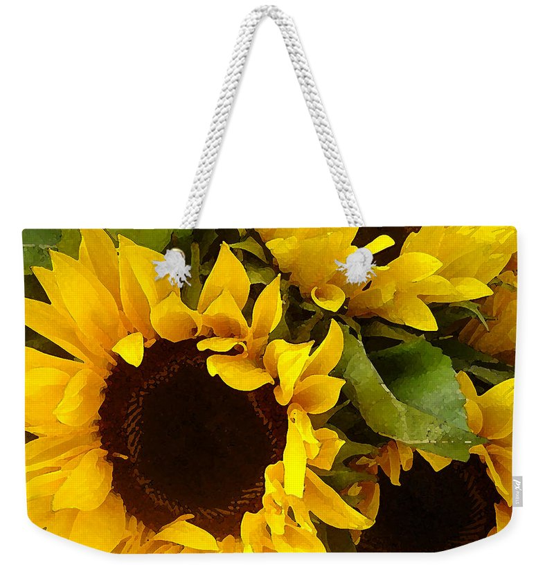 Sunflowers Weekender Tote Bag featuring the painting Sunflowers by Amy Vangsgard