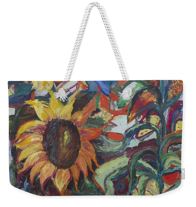 Sunflower Paintings Weekender Tote Bag featuring the painting Sunflowers by Avonelle Kelsey
