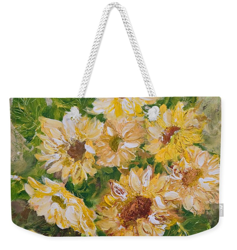 Sunflowers Weekender Tote Bag featuring the painting Sunflowers Forever by Jo Smoley