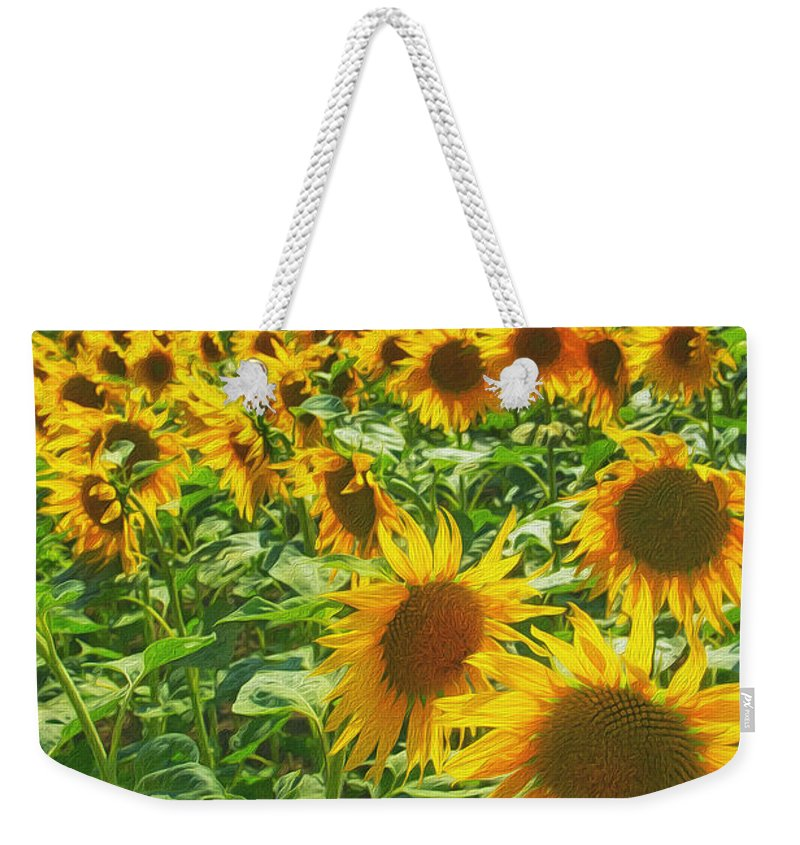 Agriculture Weekender Tote Bag featuring the painting Sunflowers by Jaroslav Frank