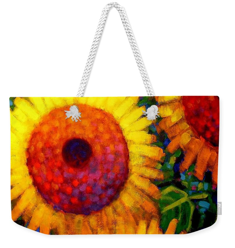 Flowers Weekender Tote Bag featuring the painting Sunflowers by John Nolan