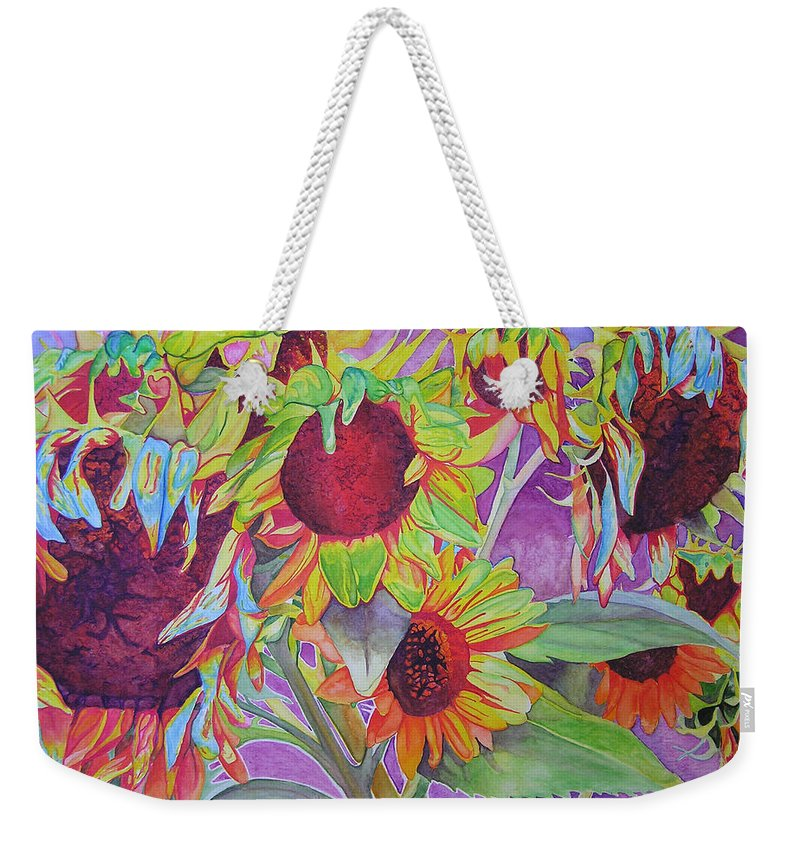 Flowers Weekender Tote Bag featuring the painting Sunflowers by Joshua Morton