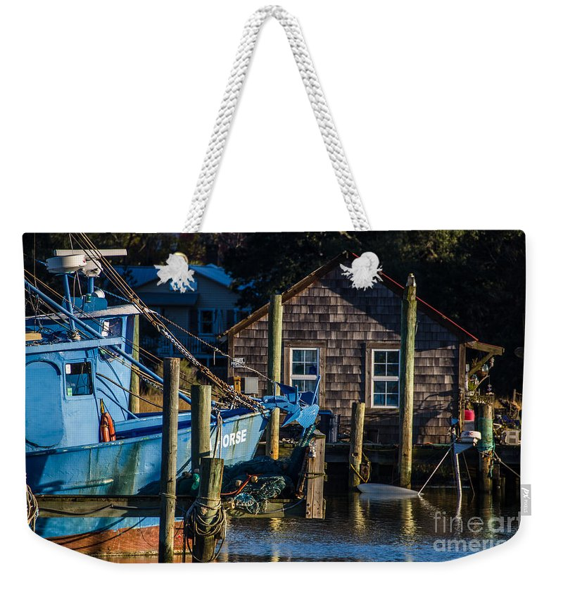 Shem Creek Weekender Tote Bag featuring the photograph Shem Creek Life by Dale Powell