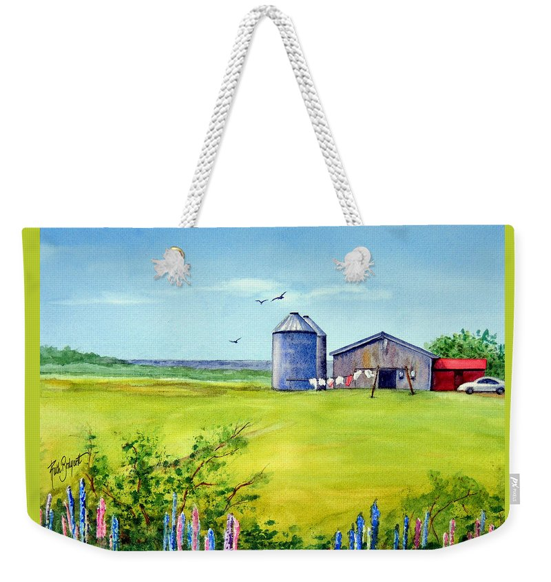 Prince Edward Island Weekender Tote Bag featuring the painting Sunkissed And Windblown Lupines And Laundry In Pei by Ruth Bodycott