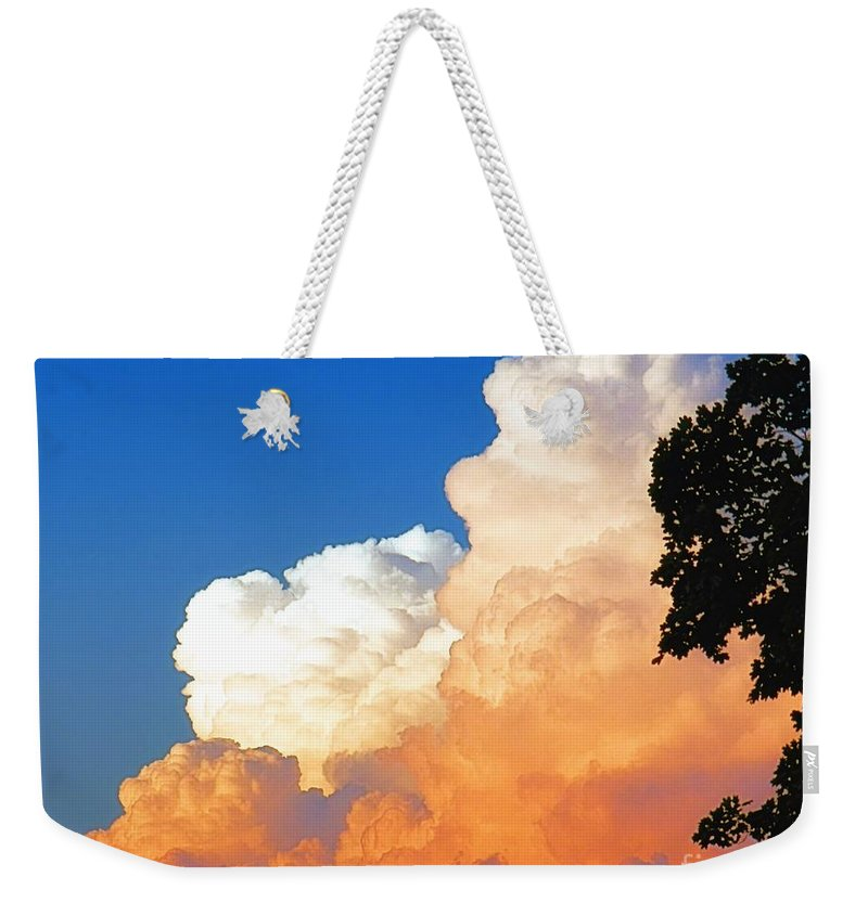 Sunkissed Weekender Tote Bag featuring the photograph Sunkissed Storm Cloud by Sharon Woerner