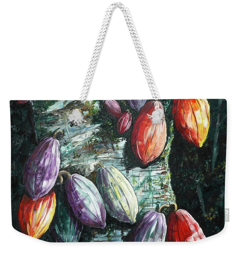 Caribbean Paintings Cocoa Fruit Paintings Tree Paintings Cocoa Paintings Chocolate Tree Paintings  Fruit Pods Paintings  Tropical Paintings Greeting Card Paintings Canvas Prints Paintings Poster Print Paintings  Weekender Tote Bag featuring the painting Sunlight And Chocolate by Karin Dawn Kelshall- Best