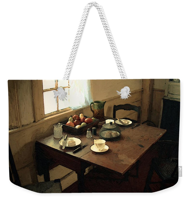 Still Life Weekender Tote Bag featuring the painting Sunlight On Dining Table by RC deWinter