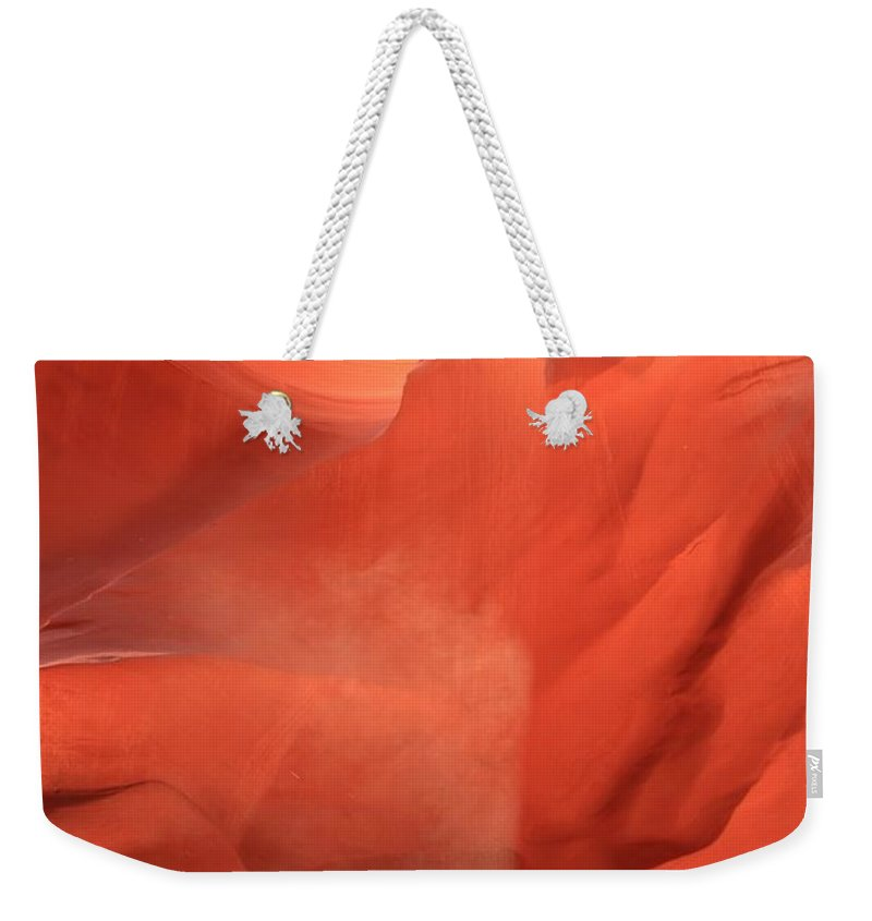 Arizona Slot Canyon Weekender Tote Bag featuring the photograph Sunlight Pouroff by Adam Jewell