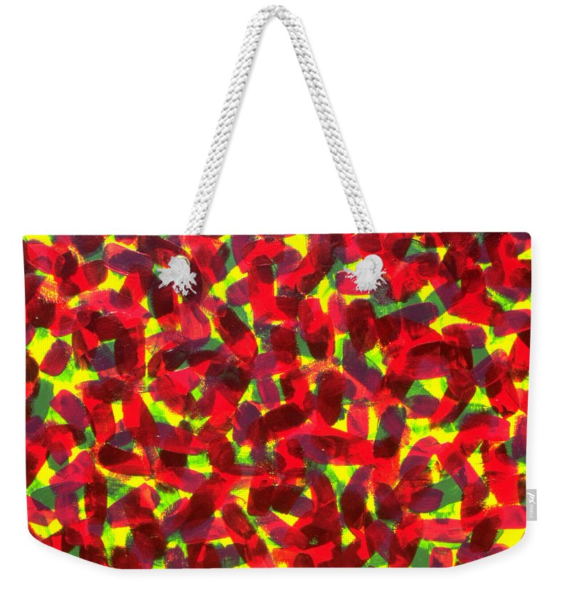 Abstract Weekender Tote Bag featuring the painting Sunlight Through The Trees by Dean Triolo