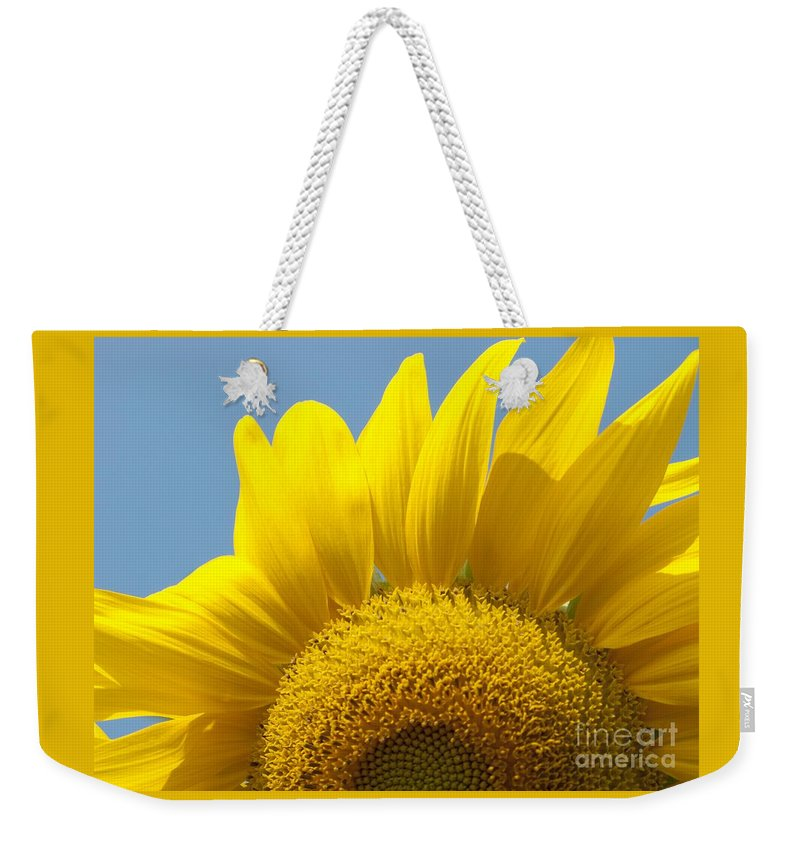 Sunflower Weekender Tote Bag featuring the photograph Sunlit Sunflower by Ann Horn