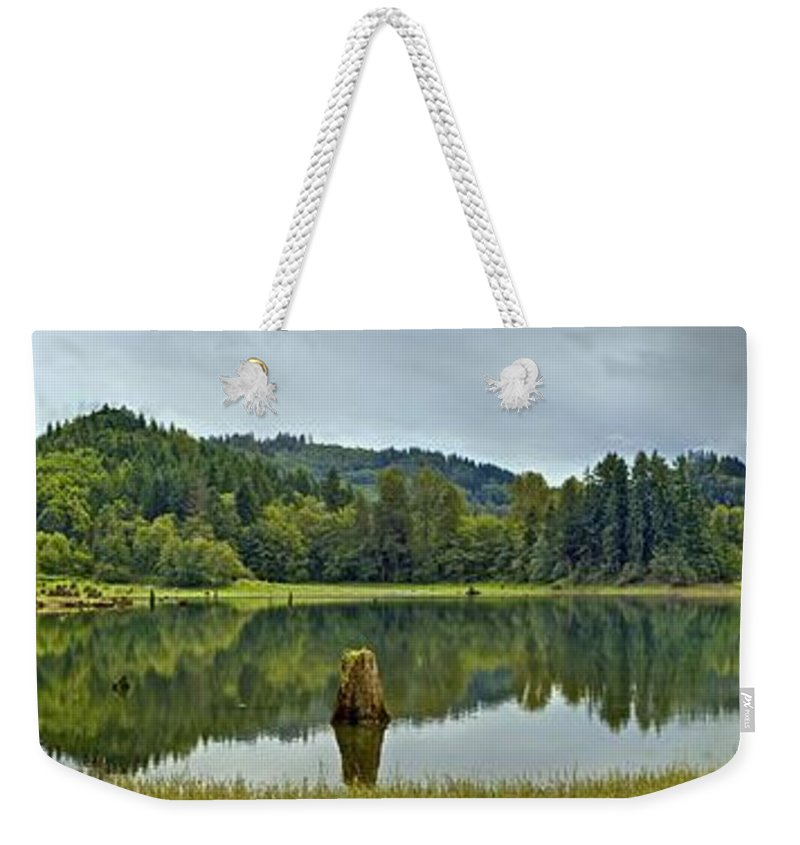 Panorama Weekender Tote Bag featuring the photograph Sunny Beach Point 1 by SC Heffner
