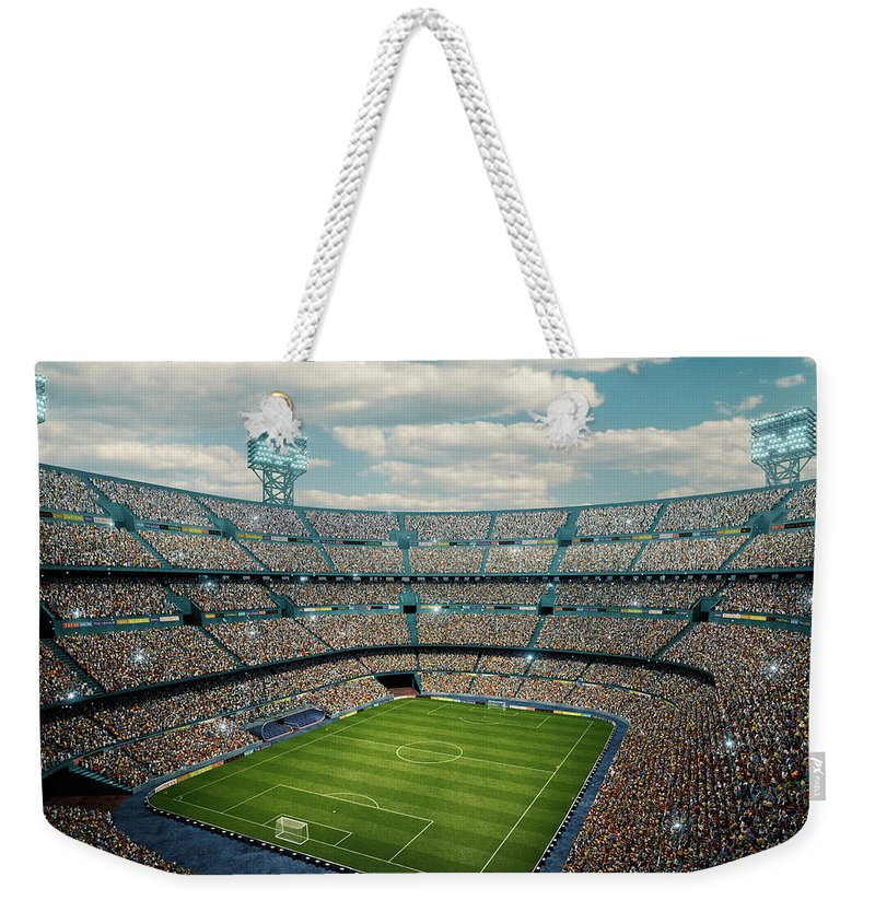 Event Weekender Tote Bag featuring the photograph Sunny Soccer Stadium Panorama by Dmytro Aksonov