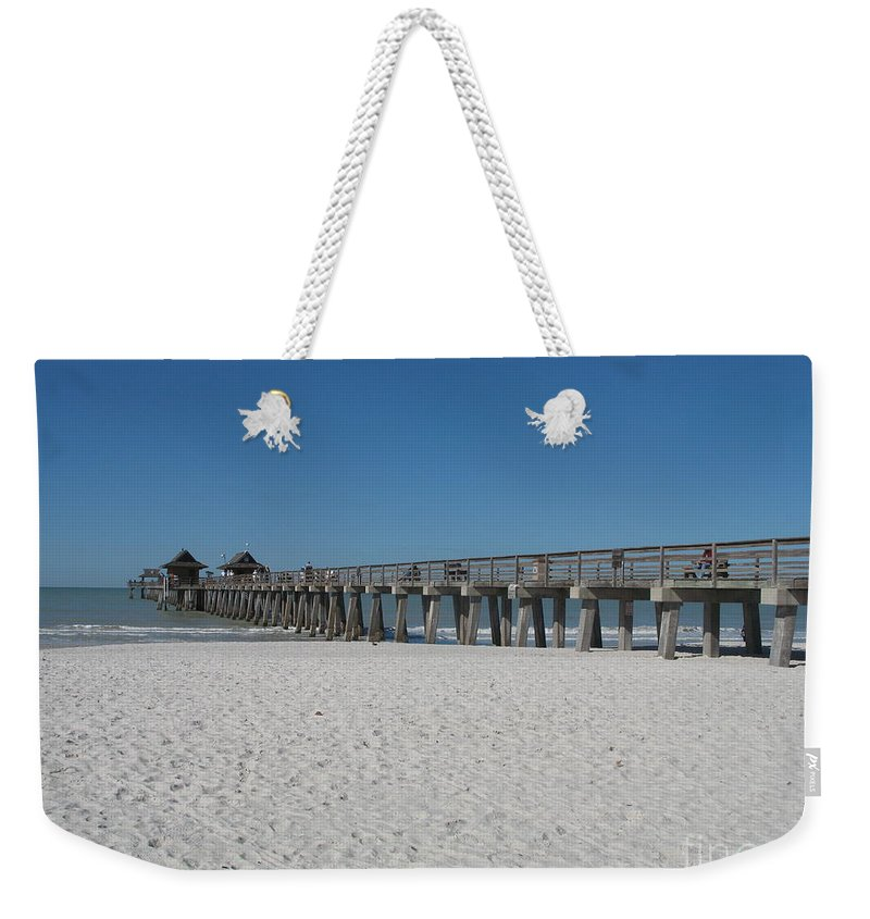 Pier Weekender Tote Bag featuring the photograph Sunny Day At Naples Pier by Christiane Schulze Art And Photography