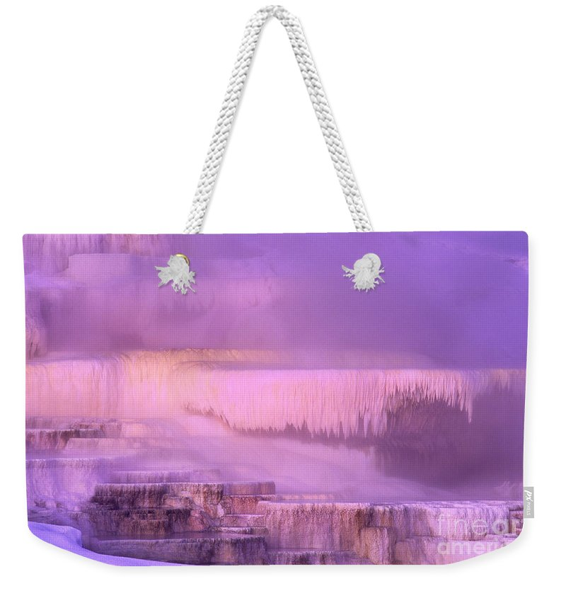 North America Weekender Tote Bag featuring the photograph Sunrise At Minerva Springs Yellowstone National Park by Dave Welling