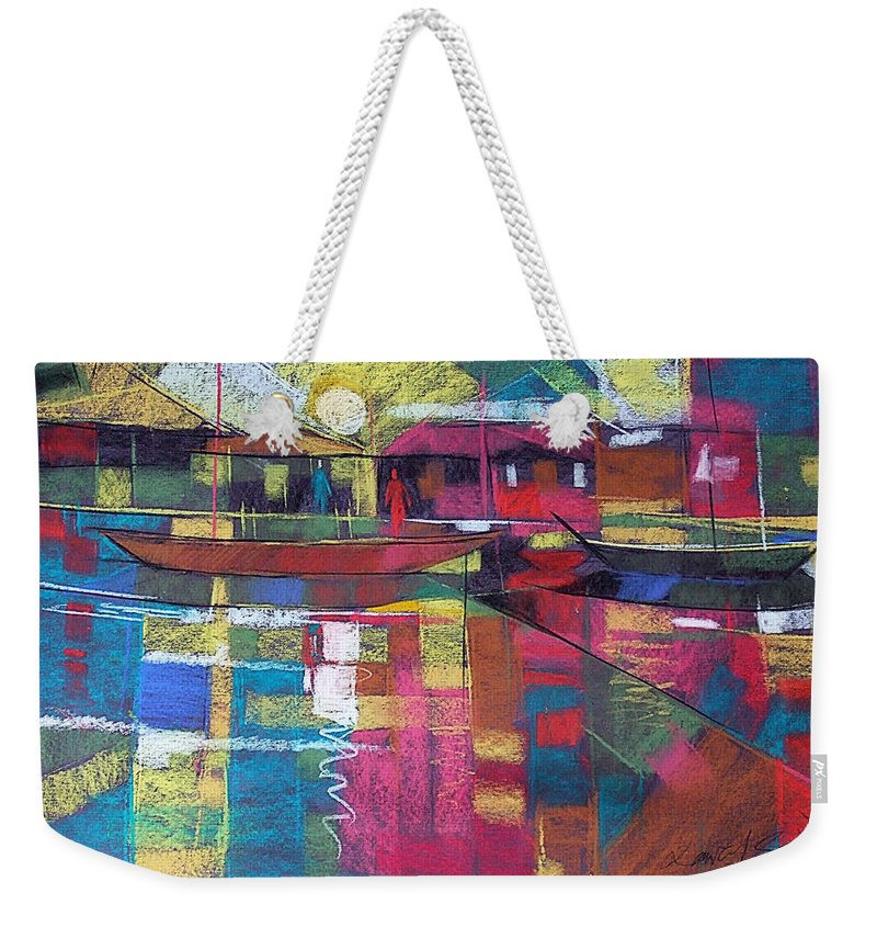 River Line Weekender Tote Bag featuring the painting Sunrise At Mom's by Said Oladejo-lawal