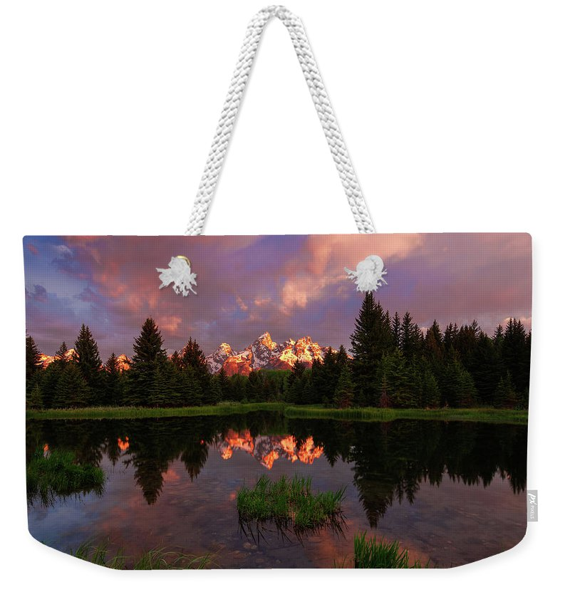 Tranquility Weekender Tote Bag featuring the photograph Sunrise At Schwabacher Landing by Hansrico Photography