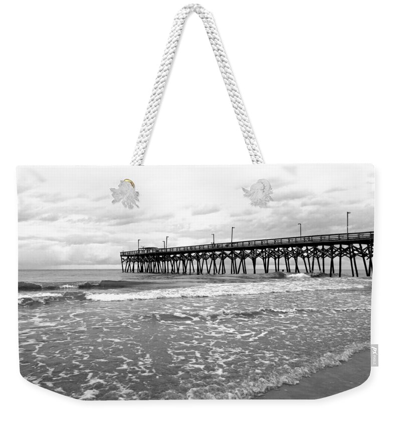 Black And White Weekender Tote Bag featuring the photograph Sunrise At Surfside Bw by Barbara McDevitt