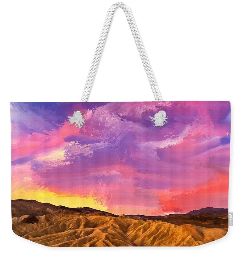 Sunrise Weekender Tote Bag featuring the painting Sunrise At Zabriskie Point by Dominic Piperata
