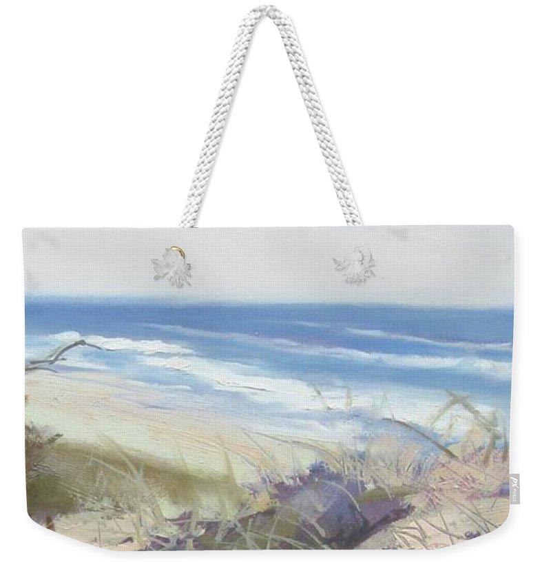 Seascape Weekender Tote Bag featuring the painting Sunrise Beach Dunes Sunshine Coast Qld Australia by Chris Hobel