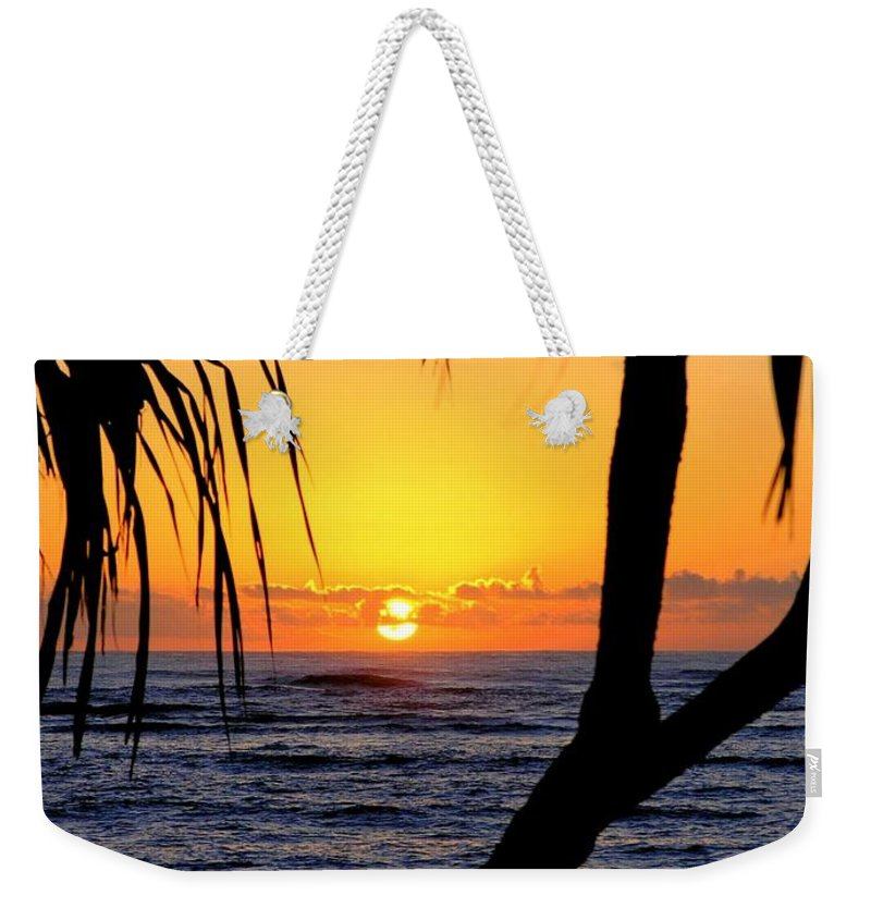 Seascape Weekender Tote Bag featuring the photograph Sunrise Fuji Beach Kauai by Mary Deal