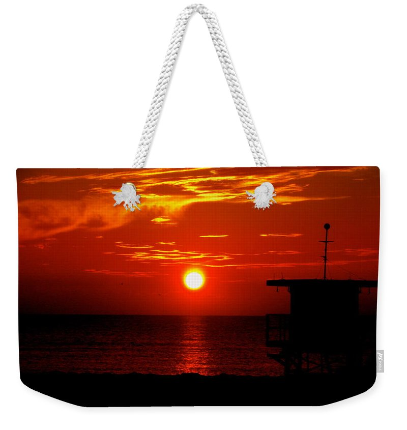 Sunrise Print Weekender Tote Bag featuring the photograph Sunrise In Miami Beach by Monique's Fine Art