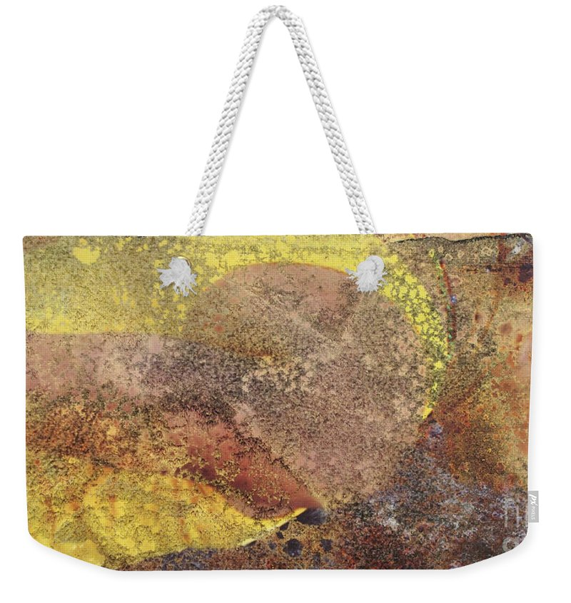 Yellow Weekender Tote Bag featuring the mixed media Sunrise by Jacklyn Duryea Fraizer