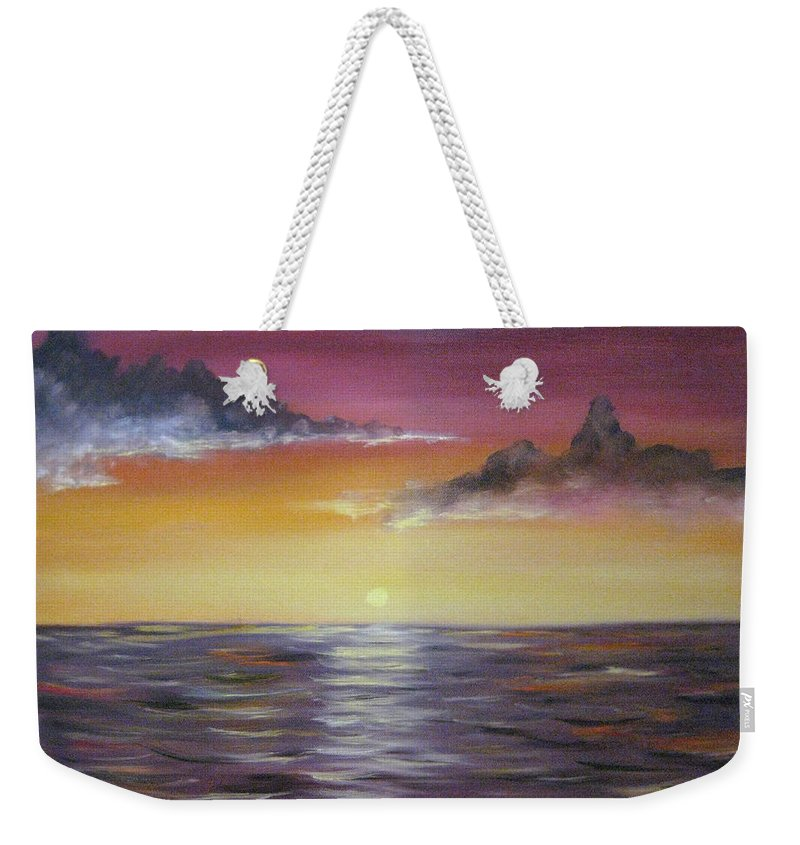 Seascape Weekender Tote Bag featuring the painting Sunrise by Nick Robinson