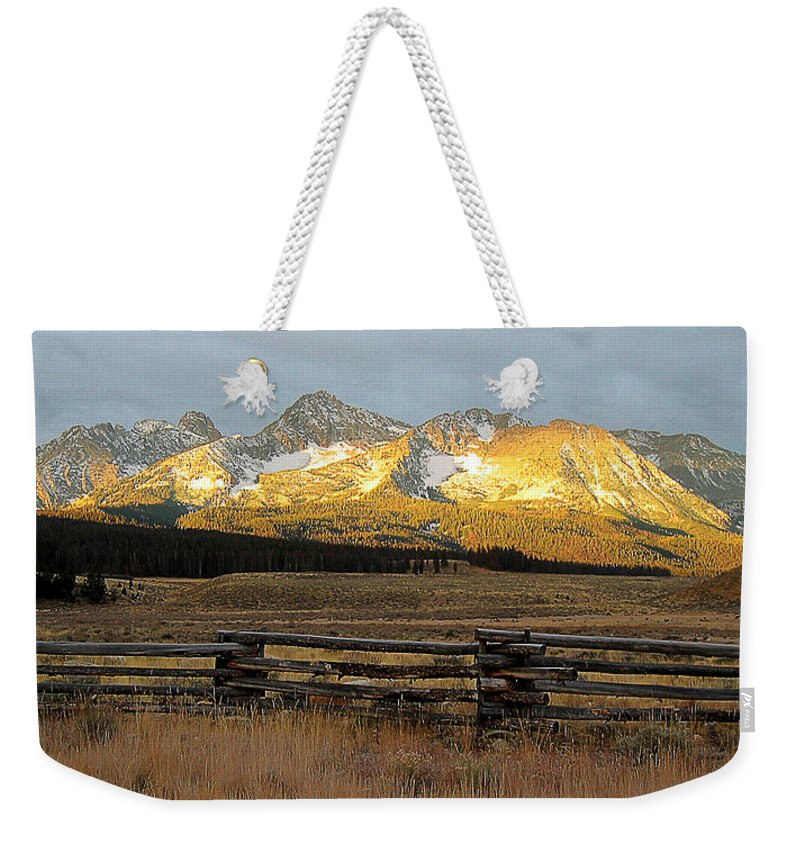 Idaho Weekender Tote Bag featuring the photograph Sunrise On Sawtooth Mountains Idaho by Robert Woodward