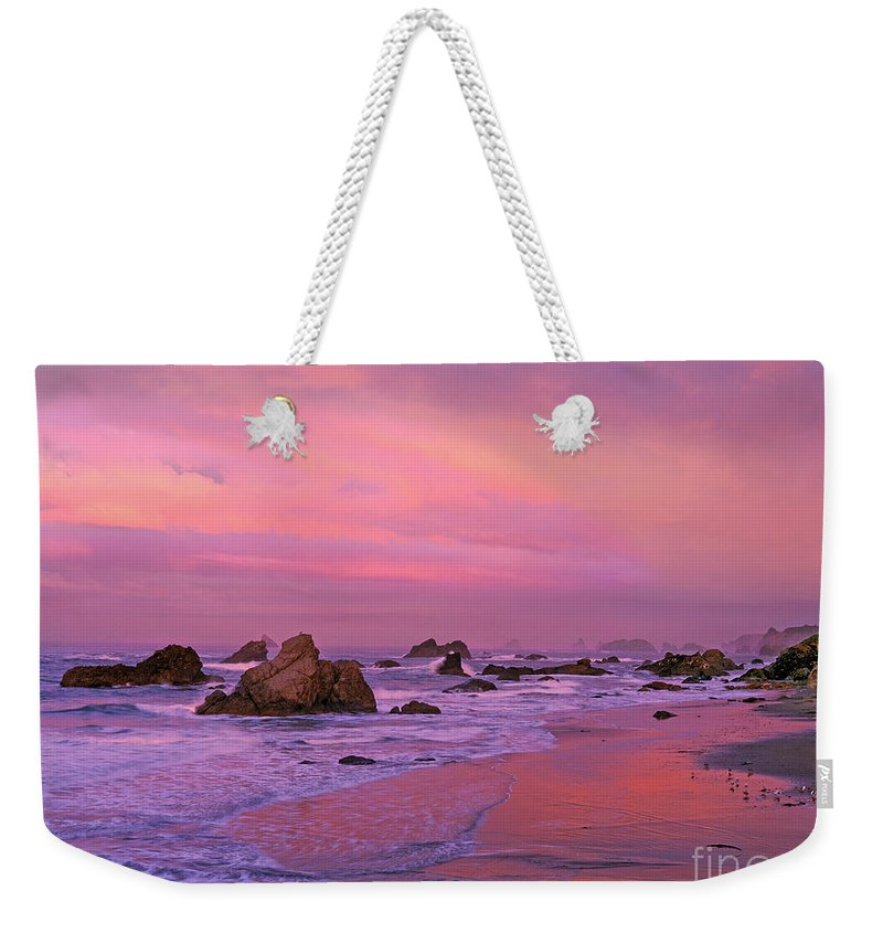 Oregon Weekender Tote Bag featuring the photograph Sunrise On Sea Stacks Harris Sb Oregon by Dave Welling