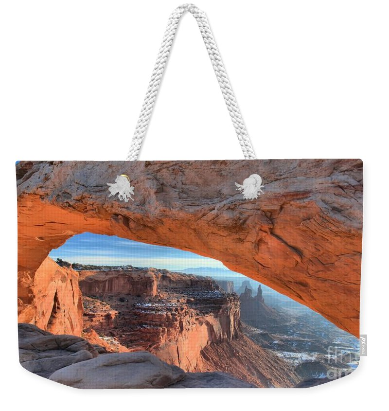 Mesa Arch Sunrise Weekender Tote Bag featuring the photograph Sunrise On The Edge by Adam Jewell